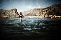 A woman casts on the Beaverhead River south of Dillon, Montana.