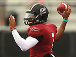 Lindenwood University - Belleville QB Anthony Dorsey (7) lines up a throw in the first half of their Homecoming Game against the Menlo College Oaks.