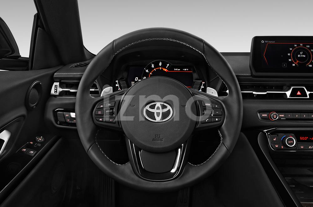 Car pictures of steering wheel view of a 2020 Toyota GR-Supra Premium 2 Door Coupe Steering Wheel