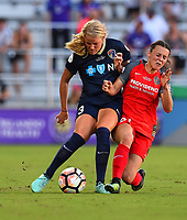 Orlando, FL - Saturday October 14, 2017:  Makenzy Doniak, Hayley Raso during the NWSL Championship match between the North Carolina Courage and the Portland Thorns FC at Orlando City Stadium.