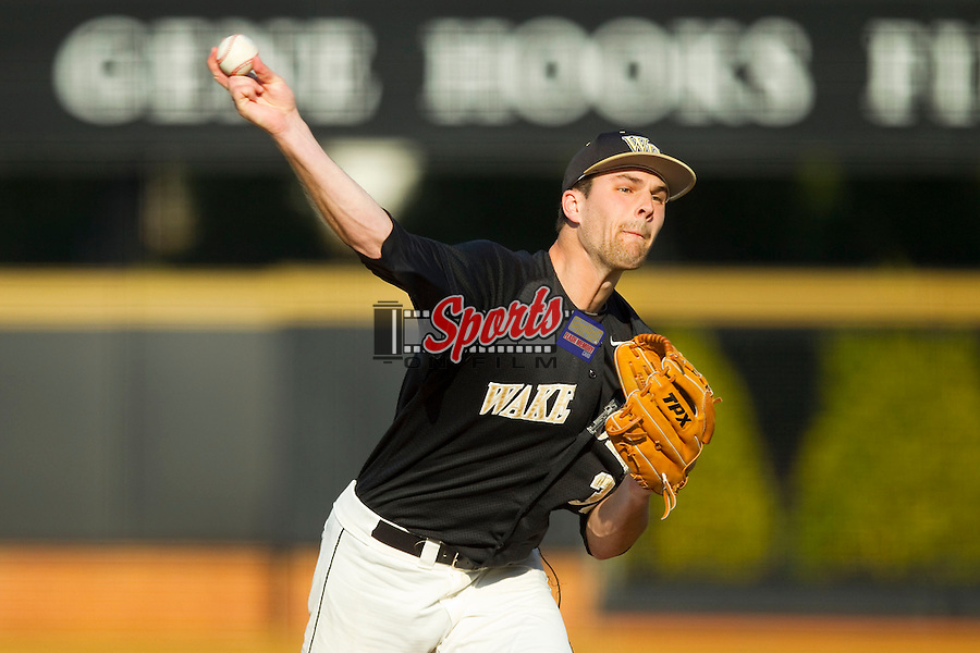 Wake Forest Demon Deacons starting pitcher Justin Van Grouw (30) in action against the North Carolina State Wolfpack at Wake Forest Baseball Park on March 16, 2013 in Winston-Salem, North Carolina.  The Demon Deacons defeated the Wolfpack 13-4.  (Brian Westerholt/Sports On Film)