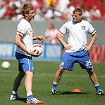United States' Jay DeMerit (l) with Frank Simek (25) behind on Sunday, March 25th, 2007 at Raymond James Stadium in Tampa, Florida. The United States Men's National Team defeated Ecuador 3-1 in a men's international friendly.
