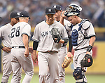 Masahiro Tanaka (Yankees),<br /> APRIL 2, 2016 - MLB :<br /> Masahiro Tanaka of the New York Yankees is pulled by manager Joe Girardi #28 in the third inning during the opening day of the Major League Baseball game against the Tampa Bay Rays at Tropicana Field in St. Petersburg, Florida, United States. (Photo by AFLO)