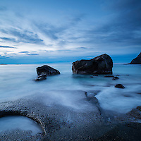 Evening twilight at Utakleiv Beach, Vestvågøya, Lofoten Islands, Norway