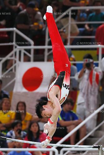 Kohei Uchimura (JPN), <br /> AUGUST 8, 2016 - Artistic Gymnastics : <br /> Men's Final  <br /> Horizontal Bar   <br /> at Rio Olympic Arena <br /> during the Rio 2016 Olympic Games in Rio de Janeiro, Brazil. <br /> (Photo by Sho Tamura/AFLO SPORT)