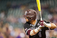 Texas A&M Aggies outfielder Nick Banks (4) at bat during the Houston College Classic against the Baylor Bears on March 8, 2015 at Minute Maid Park in Houston, Texas. Texas A&M defeated Baylor 3-2. (Andrew Woolley/Four Seam Images)