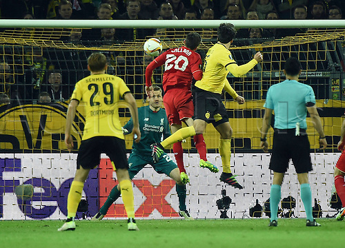 07.04.2016. Dortmund, Germany. Europa League quarterfinal. Borussia Dortmund versus Liverpool FC at the Signal Iduna Park Dortmund.  Goal scorer Mats Hummels ( Dortmund ) climbs high for the 1-1 equaliser as Mignolet is beaten