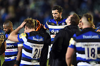 Luke Charteris of Bath Rugby looks dejected in a post-match huddle. Aviva Premiership match, between Bath Rugby and Wasps on December 29, 2017 at the Recreation Ground in Bath, England. Photo by: Patrick Khachfe / Onside Images