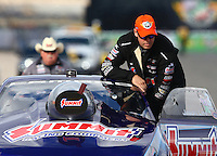 Nov 2, 2014; Las Vegas, NV, USA; NHRA pro stock driver Jason Line reacts during the Toyota Nationals at The Strip at Las Vegas Motor Speedway. Mandatory Credit: Mark J. Rebilas-USA TODAY Sports
