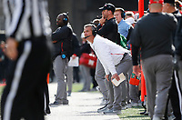 Ohio State Buckeyes head coach Urban Meyer watches from the sidelines during the third quarter of a NCAA college football game between the Ohio State Buckeyes and the Nebraska Cornhuskers on Saturday, November 3, 2018 at Ohio Stadium in Columbus, Ohio. [Joshua A. Bickel/Dispatch]