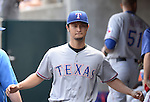 Yu Darvish (Rangers), MAY 22, 2014 - MLB : Yu Darvish of the Texas Rangers in the dugout during the MLB game between the Detroit Tigers and the Texas Rangers at Comerica Park in Detroit, United States. (Photo by AFLO)