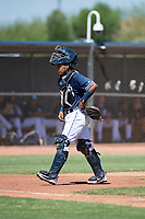 San Diego Padres catcher Alison Quintero (66) during an Instructional League game against the Milwaukee Brewers at Peoria Sports Complex on September 21, 2018 in Peoria, Arizona. (Zachary Lucy/Four Seam Images)