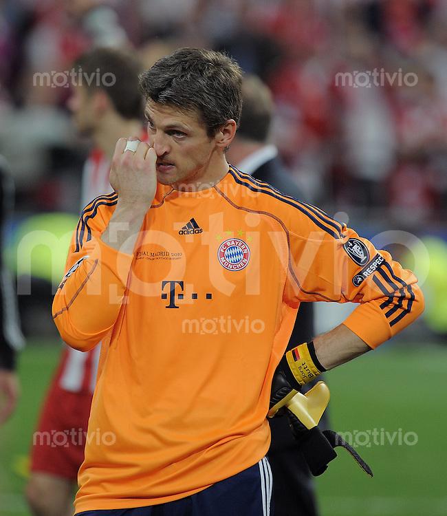 FUSSBALL      CHAMPIONSLEAGUE FINALE       SAISON 2009/2010 FC Bayern Muenchen - Inter Mailand    22.05.2010 ENTTAEUSCHUNG FC Bayern, Torwart Hans Joerg Butt