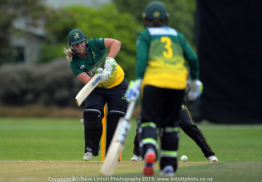 Central's Jess Watkin bats during the women's Hallyburton Johnstone Shield cricket match between the Wellington Blaze and Central Hinds at Karori Park in Wellington, New Zealand on Sunday, 1 December 2019. Photo: Dave Lintott / lintottphoto.co.nz
