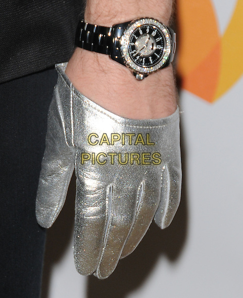 JOHNNY WEIR's hand .at the 21st Annual GLAAD Media Awards held at The Hyatt Regency Century Plaza in Century City, California  USA, April 17th 2010.       .detail wrist watch silver glove.CAP/RKE/DVS.©DVS/RockinExposures/Capital Pictures.