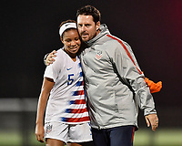 Lakewood Ranch, FL - Wednesday, October 10, 2018:   Mia Fishel, Mike Carr during a U-17 USWNT match against Colombia.  The U-17 USWNT defeated Colombia 4-1.
