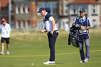 Thomas Sloman (GB&I) on the 1st during Day 2 Singles at the Walker Cup, Royal Liverpool Golf CLub, Hoylake, Cheshire, England. 08/09/2019.<br /> Picture Thos Caffrey / Golffile.ie<br /> <br /> All photo usage must carry mandatory copyright credit (© Golffile | Thos Caffrey)