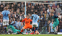 Manchester City's Raheem Sterling scores his side's fifth goal past Tottenham Hotspur's Hugo Lloris which is disallowed following a VAR review<br /> <br /> Photographer Rich Linley/CameraSport<br /> <br /> UEFA Champions League - Quarter-finals 2nd Leg - Manchester City v Tottenham Hotspur - Wednesday April 17th 2019 - The Etihad - Manchester<br />  <br /> World Copyright © 2018 CameraSport. All rights reserved. 43 Linden Ave. Countesthorpe. Leicester. England. LE8 5PG - Tel: +44 (0) 116 277 4147 - admin@camerasport.com - www.camerasport.com