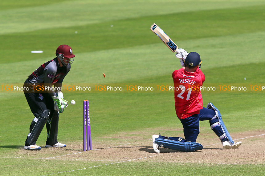 Tom Westley of Essex is bowled out by Roelof van der Merwe during Somerset vs Essex Eagles, Royal London One-Day Cup Cricket at The Cooper Associates County Ground on 14th May 2017