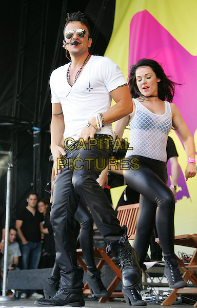 PETER ANDRE.Midlands Music Festival at Tamworth Castle, Staffordshire, England, UK..July 18th 2010.stage concert live gig performance music full length white t-shirt .singing bracelets necklace black trousers boots dancing sunglasses shades aviators  .CAP/ROS.©Steve Ross/Capital Pictures