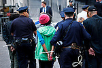 NEW YORK, NY - APRIL 20: Members of Occupy Wall Street are arrested s they takes part during a spring training protest on April 20, 2012 in New York City