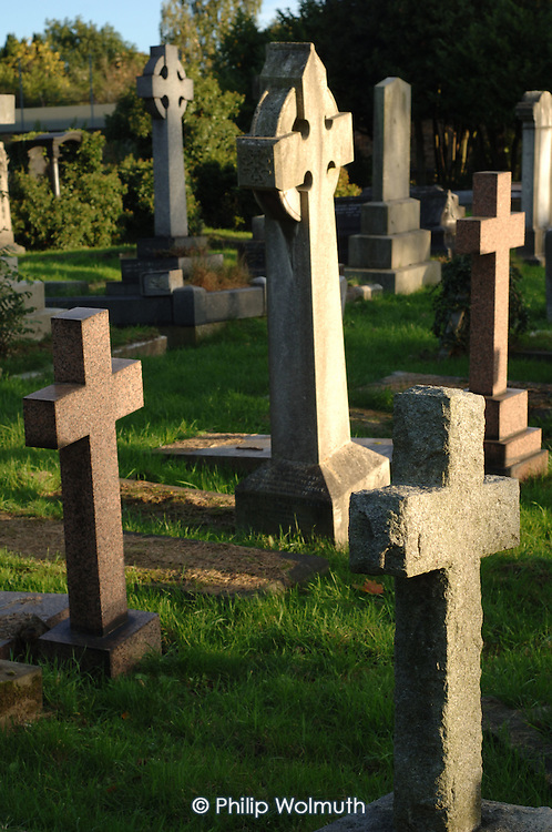 Stone crosses in Hampstead Cemetery, which is managed by the London Borough of Camden.