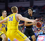 SIOUX FALLS, SD - MARCH 7: IPFW Mastodons guard Jarred Godfrey #1 drives up the court against South Dakota State Jackrabbits forward Matt Dentlinger #32 at the 2020 Summit League Basketball Championship in Sioux Falls, SD. (Photo by Richard Carlson/Inertia)