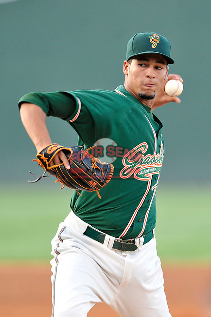 Pitcher Gabriel Castellanos (25) of the Greensboro Grasshoppers delivers a pitch in a game against the Greenville Drive on Wednesday, August 26, 2015, at Fluor Field at the West End in Greenville, South Carolina. Greenville won, 7-0.