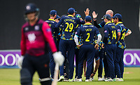 Durham players celebrate taking the wicket of Northants Steelbacks' Rob Newton <br /> <br /> Photographer Andrew Kearns/CameraSport<br /> <br /> Royal London One Day Cup - Northamptonshire v Durham - Sunday 27th May 2018 - The County Ground, Northampton<br /> <br /> World Copyright &copy; 2018 CameraSport. All rights reserved. 43 Linden Ave. Countesthorpe. Leicester. England. LE8 5PG - Tel: +44 (0) 116 277 4147 - admin@camerasport.com - www.camerasport.com