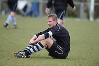 VOETBAL: ALDEBOARN: 14-04-2013, Eredivisie 2012-2013, Oldeboorn - Aengwirden, degradatiewedstrijd 4e klasse A, Eindstand 2-3, Wietse Huisman (#3), ©foto Martin de Jong