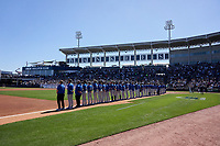 Toronto Blue Jays line up for the national anthem before a Spring Training game against the New York Yankees on February 22, 2020 at the George M. Steinbrenner Field in Tampa, Florida.  (Mike Janes/Four Seam Images)