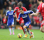 Eden Hazard of Chelsea gets in front of Mario Balotelli of Liverpool  - Barclays Premier League - Liverpool vs Chelsea - Anfield Stadium - Liverpool - England - 8th November 2014  - Picture Simon Bellis/Sportimage