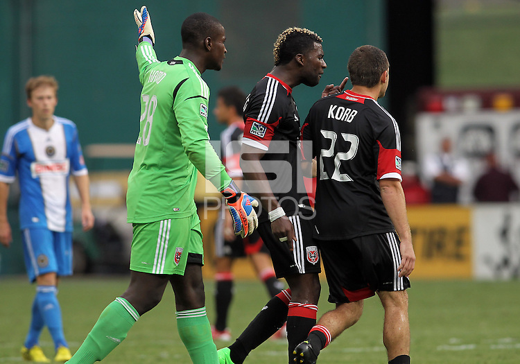 WASHINGTON, D.C. - AUGUST 19, 2012:  Bill Hamid (28) and Brandon McDonald (4) of DC United argue with Chris Kolb (22) at the end of an MLS match against the Philadelphia Union at RFK Stadium, in Washington DC, on August 19. The game ended in a 1-1 tie.