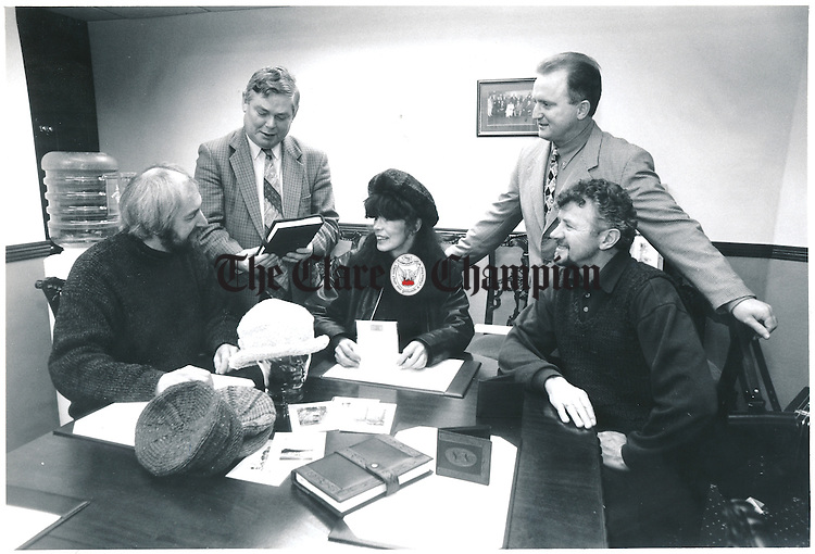 Clare craftworkers Alan Shoosmith, Feakle; Miriam Sheen, Kilnaboy and Tony McFadden, Ballyvaughan, discussing details of the RDS trade show with Eamon Kelly, CEO Enterprise Board and Martin O'Loghlen, executive, Enterprise Board - January 15, 1999. Photograph by Eamon Ward