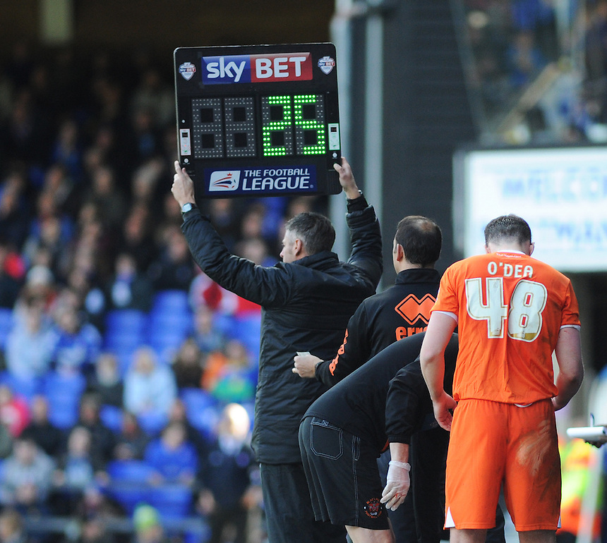 Blackpool's Darren O'Dea is replaced during the first half<br /> <br /> Photographer Kevin Barnes/CameraSport<br /> <br /> Football - The Football League Sky Bet Championship - Ipswich Town v  Blackpool - Saturday 11th April 2015 - Portman Road - Ipswich<br /> <br /> &copy; CameraSport - 43 Linden Ave. Countesthorpe. Leicester. England. LE8 5PG - Tel: +44 (0) 116 277 4147 - admin@camerasport.com - www.camerasport.com