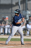 Upper Iowa University Peacocks catcher Jose Aguirre (20) during a game against Slippery Rock University at Frank Tack Field on March 14, 2014 in Clearwater, Florida.  Slippery Rock defeated Upper Iowa 14-9.  (Mike Janes/Four Seam Images)