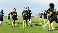 20190226 - LARNACA , CYPRUS : illustration picture shows the Belgian players during a Matchday -1 training from The Belgian Red Flames prior to their game against the women team of Slovakia , on Tuesday 26 February 2019 at the Alpha Sports Grounds in Larnaca , Cyprus . This will be the first game in group C for Belgium during the Cyprus Womens Cup 2019 , a prestigious women soccer tournament as a preparation on the European Championship 2021 qualification duels. PHOTO SPORTPIX.BE | DAVID CATRY