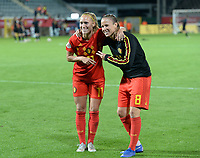 20190903 - LEUVEN , BELGIUM : Belgian Janice Cayman pictured with Lenie Onzia during the female soccer game between the Belgian Red Flames and Croatia , the first womensoccer game for Belgium in the qualification for the European Championship round in group H for England 2021, Tuesday 3 th September 2019 at the King Power Stadion Den Dreef in Leuven , Belgium. PHOTO SPORTPIX.BE | DAVID CATRY