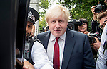 pic shows: Boris Johnson home islington 30.6.16<br /> <br /> Leaves home on way to announcing candidacy surrounded b y police<br /> <br /> Pic by Gavin Rodgers/Pixel 8000 Ltd
