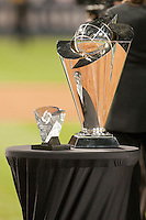 23 March 2009: The championship trophy of the World Baseball Classic on the field at the end of the 2009 World Baseball Classic final game at Dodger Stadium in Los Angeles, California, USA. Japan defeated Korea 5-3