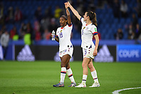 LE HAVRE, FRANCE - JUNE 20: Crystal Dunn #19, Kelley O'Hara #5 during a 2019 FIFA Women's World Cup France group F match between the United States and Sweden at Stade Océane on June 20, 2019 in Le Havre, France.