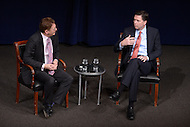 Washington, DC - December 9, 2015: FBI Director James B. Comey (r) discusses national security, terrorism and cyber crime during an event at the Newseum in the District of Columbia, December 9, 2015.  Comey was sworn in as the seventh Director of the FBI in September 2013. Newseum CEO Jeffrey Herbst (l) moderated the discussion.   (Photo by Don Baxter/Media Images International)