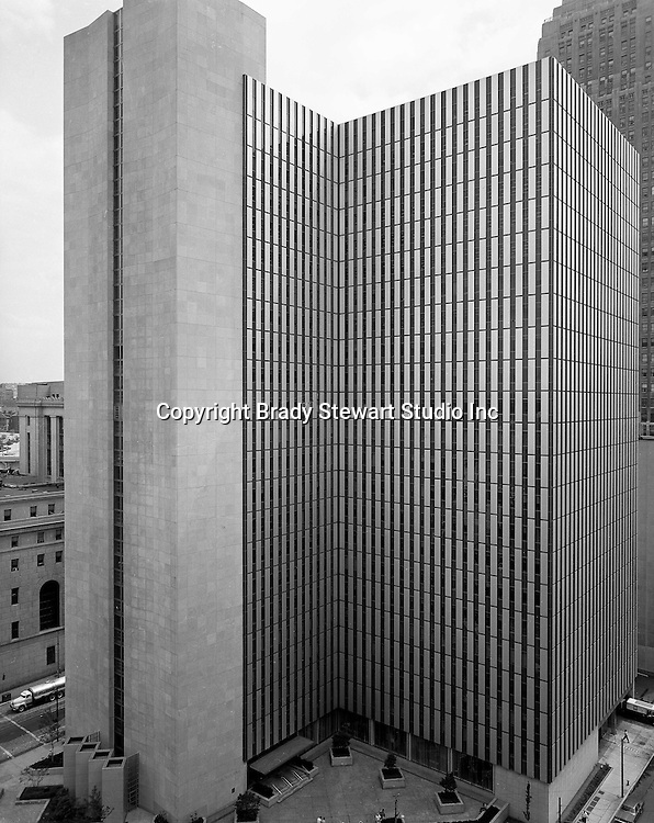 Pittsburgh PA:  View of the new William S. Moorhead Federal Building from the roof of the Fort Pitt Hotel - 1969