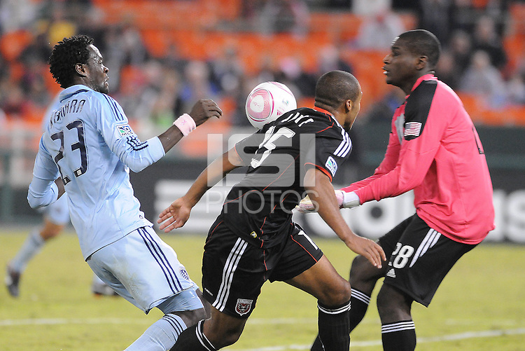 D.C. United goalkeeper Bill Hamid (28) goes against Sporting Kansas City midfielder Kei Kamara (23).  Sporting Kansas City defeated D.C. United 1-0 at RFK Stadium,Saturday October 22, 2011.