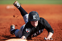 Edgewood Eagles Danny Appino (13) dives back into first base during the first game of a doubleheader against the Plymouth State Panthers on April 17, 2016 at Lee County Player Development Complex in Fort Myers, Florida.  Plymouth State defeated Edgewood 6-5.  (Mike Janes/Four Seam Images)