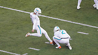 Sechstes Field Goal des Tages von kicker Jason Sanders (7) of the Miami Dolphins - 08.12.2019: New York Jets vs. Miami Dolphins, MetLife Stadium New York