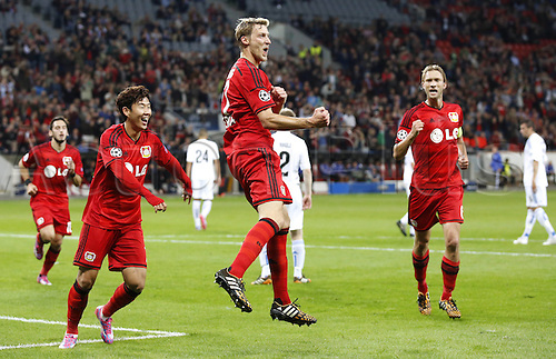 27.08.2014. Leverkusen, Germany. UEFA Champions League qualification match. Bayer Leverkusen versus FC Copenhagen. Leverkusens Stefan Kiessling (L) celebrates scoring the goal for 3:0 with Leverkusens Heung-Min Son