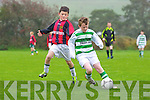 Darragh Mackessy of Listowel Celtic breaks away from St Bernard's Adam Dowling last Saturday in the U12 Schools Soccer in Pat Kennedy Park, Listowel.