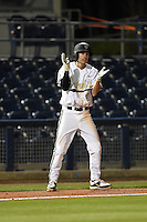 Vanderbilt Commodores infielder Tyler Campbell (2) celebrates a hit during a game against the Indiana State Sycamores on February 20, 2015 at Charlotte Sports Park in Port Charlotte, Florida.  Vanderbilt defeated Indiana State 3-2.  (Mike Janes/Four Seam Images)