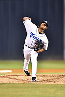 Asheville Tourists pitcher Erick Julio (29) delivers a pitch during a game against the Rome Braves at McCormick Field on April 17, 2018 in Asheville, North Carolina. The Tourists defeated the Braves 1-0. (Tony Farlow/Four Seam Images)